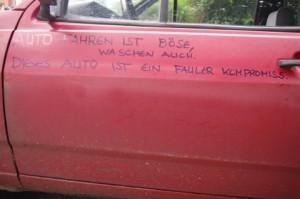 Auto fahren ist böse, waschen auch. Dieses Auto ist ein fauler Kompromiss.