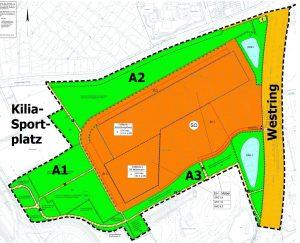 B-Plan 988 - Auszug, der die geplanten und zerstörten Ausgleichsflächen (grün) zeigt.