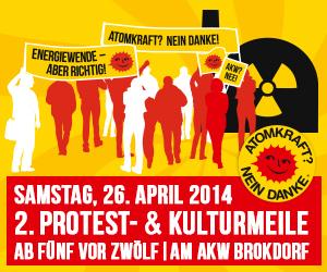 Brokdorf: Protest- und Kulturmeile am 26.4. 2014 für die sofortige Stilllegung des AKW.