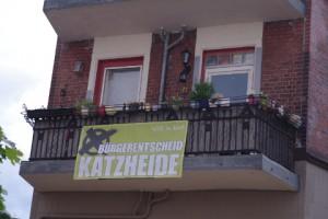 Bürgerentscheid Katzheide - Transparent Ecke Kirchenweg/Iltisstraße in Kiel-Gaarden