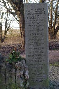 Gedenkstein auf ehemaligen KZ Russee in Kiel