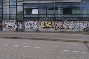 Graffiti am Callcenter Hörn