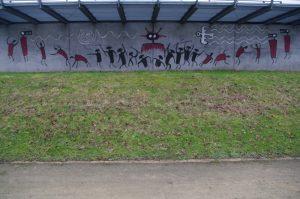 Graffiti an der Aussichtsplattform im Schleusenpark