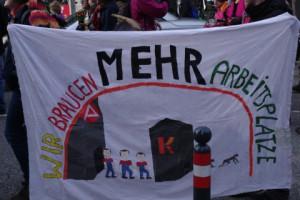 Wir brauchen mehr Arbeitsplätze - Demo für ein JA beim Bürgerentscheid am 23.3. in Kiel.