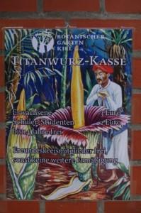 Kassenschild für Titanwurz-Präsentation im Botanischen Garten Kiel