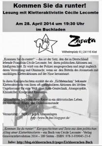 """Kiel: Lesung: """"Kommen Sie da runter!"""" im Buchladen Zapata"""
