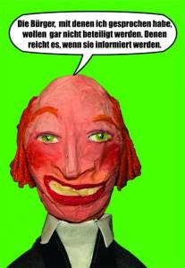Dirk Scheelje (Grüne) im Bauausschuss. Kritik wegen seiner Vorstellungen zu Bürgerbeteiligung gibt's schon lange. Postkarte von WIR in Kiel, Frühjahr 2013.