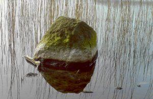 Stein als Wasserstandszeiger im See
