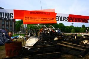 Occupy Kiel Camp durch Feuer zerstört