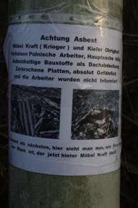 Bürgerprotest gegen katastrofale Bedingungen bei Arbeiten für die Krieger Gruppe / Möbel Kraft in Kiel.